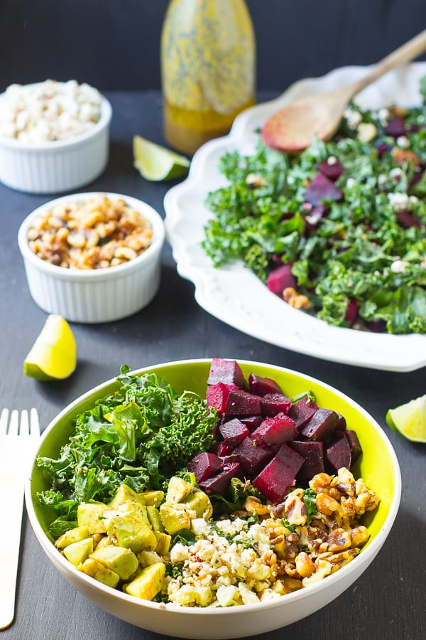 This Roasted Beet Feta Salad is a quick, creamy and delicious salad that can easily serve a crowd. It's served with a sweet and tangy honey mustard vinaigrette!