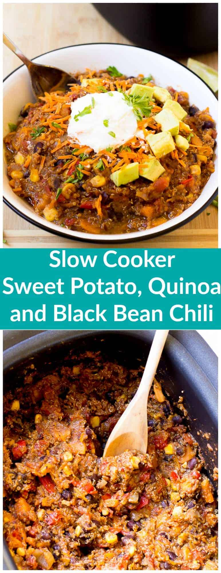 This Slow Cooker Sweet Potato, Quinoa and Black Bean Chili takes only 15 minutes to prep and then right into the slow cooker! It results in a hearty, thick and delicious chili!