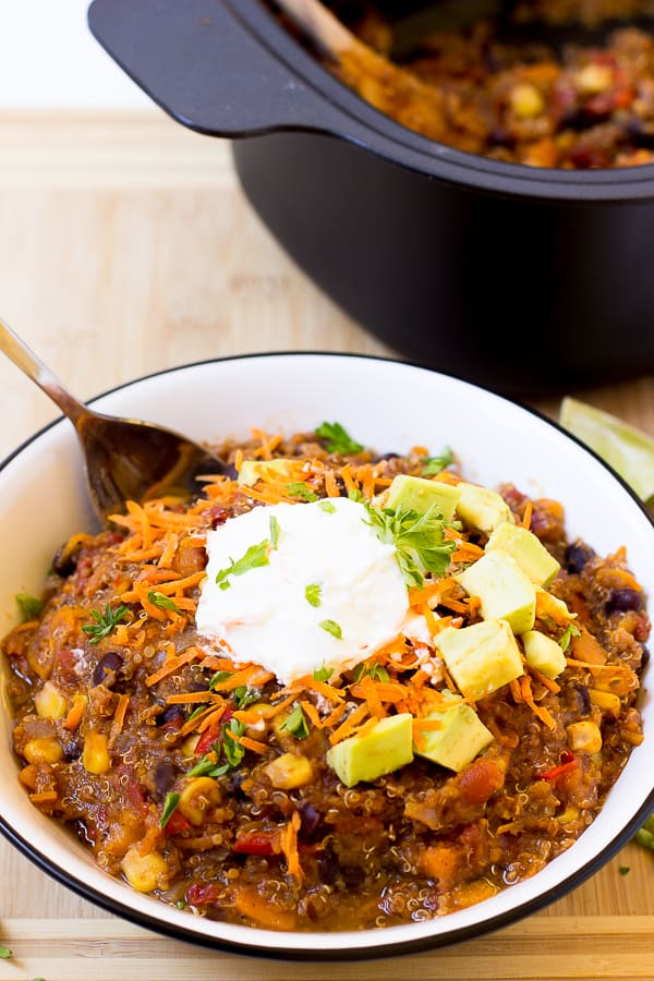This Vegan Sweet Potato and Black Bean Quinoa Chili (Slow Cooker) takes only 15 minutes to prep and then right into the slow cooker! It results in a hearty, thick and delicious chili!
