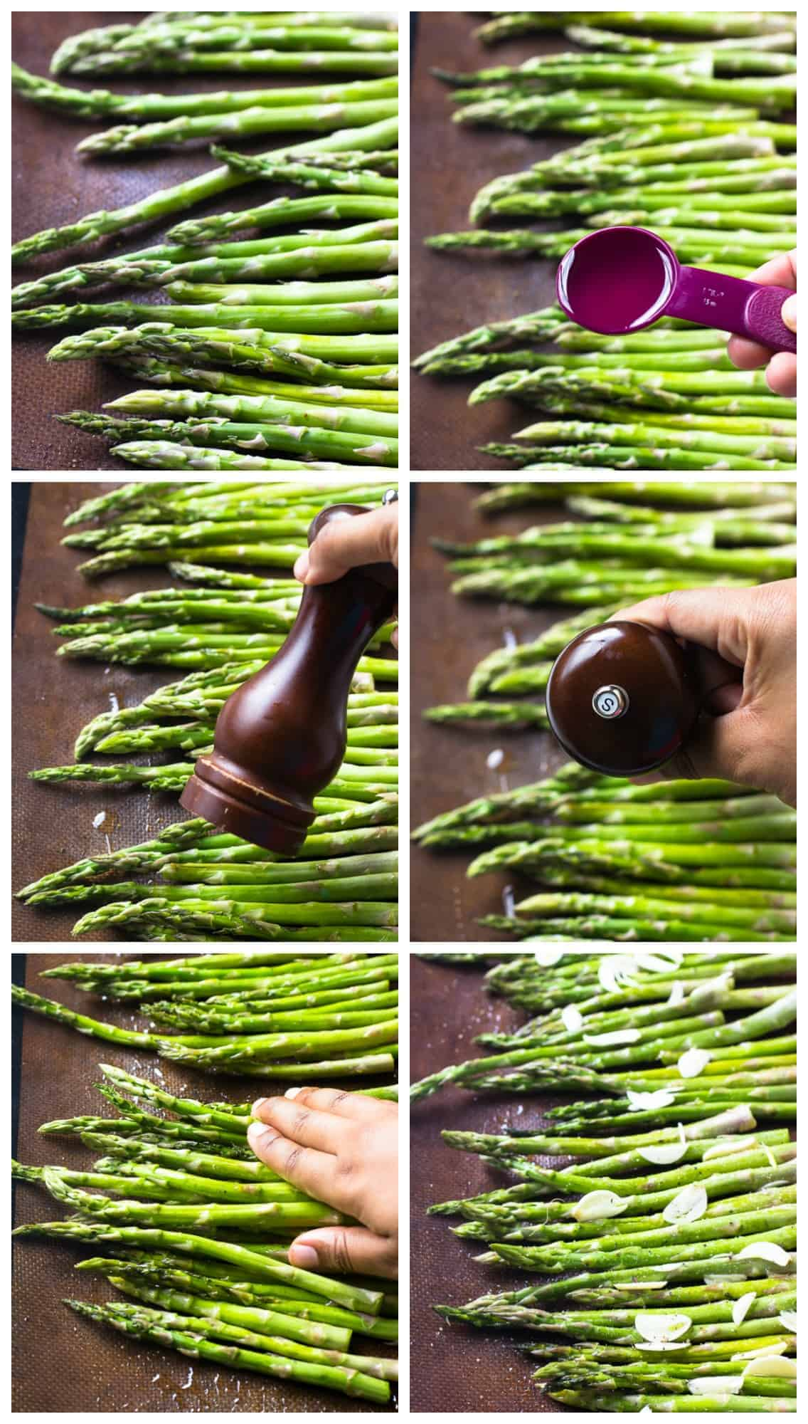 Montage of seasoning asparagus on a baking tray.