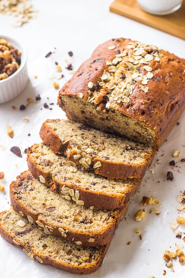 This Easy Gluten Free Banana Bread is a tried and true banana bread! It's soft, moist, healthy and refined sugar free!