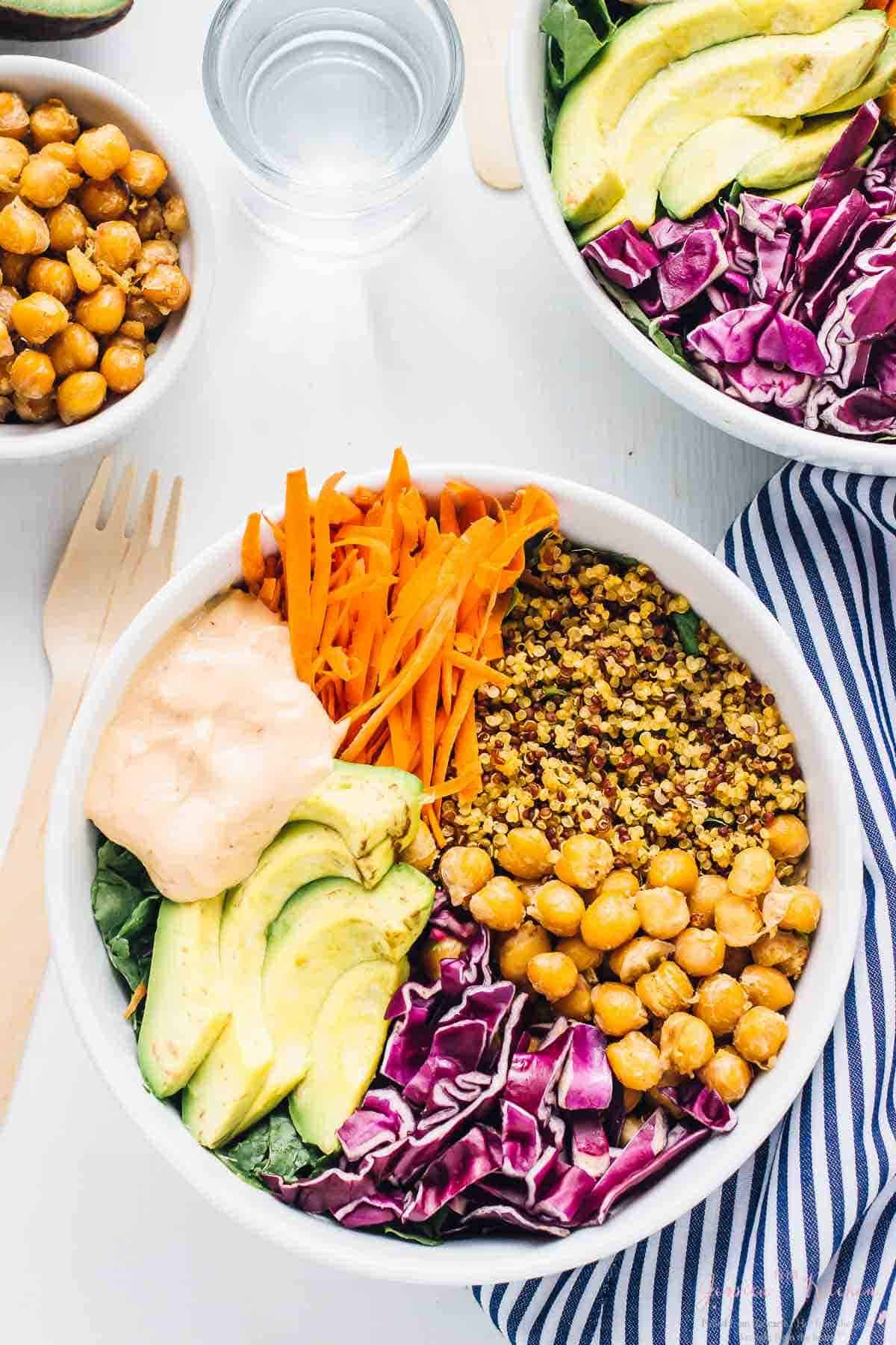 Overhead Nourish Buddha Bowl in a white bowl