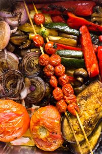A close up of cooked balsamic grilled vegetables.