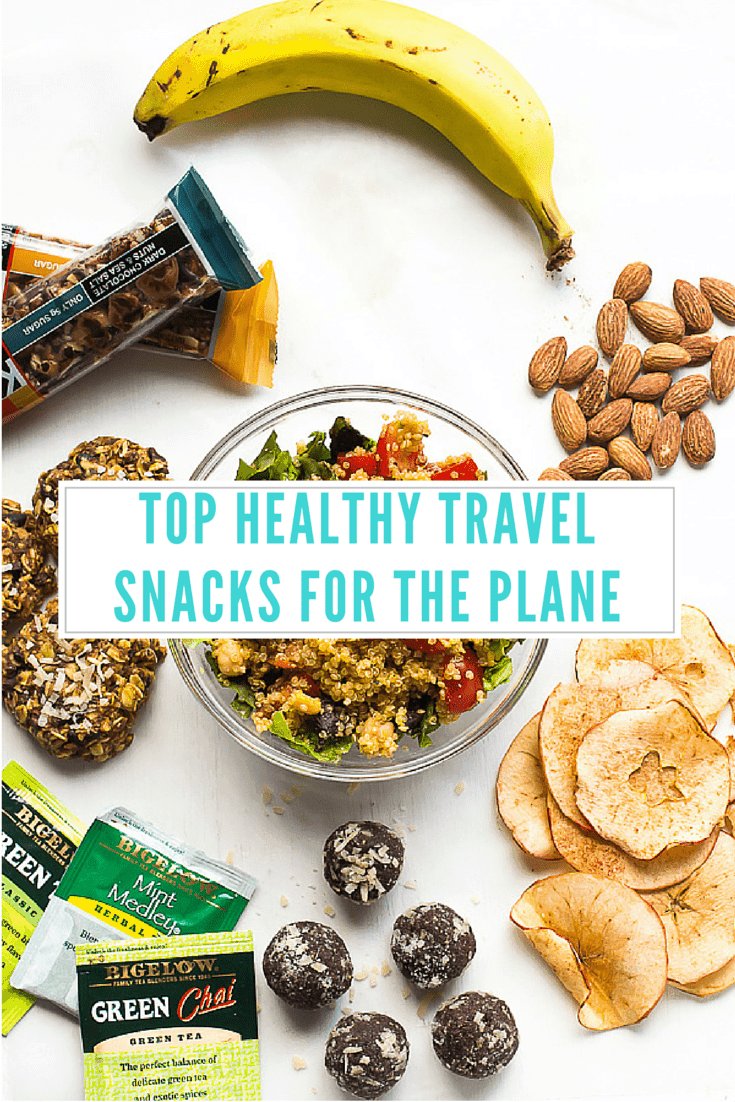 Title card saying top healthy travel snacks.