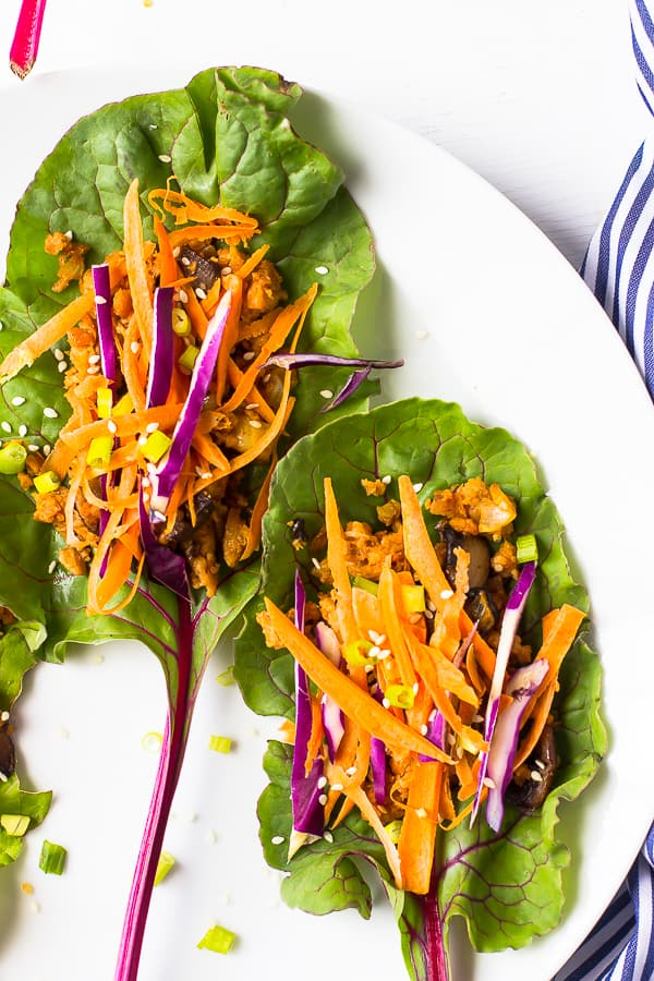 This Vegan Asian Swiss Chard Wraps are an easy and incredibly tasty light lunch that are drizzled with an insane Sweet Sriracha Sauce!