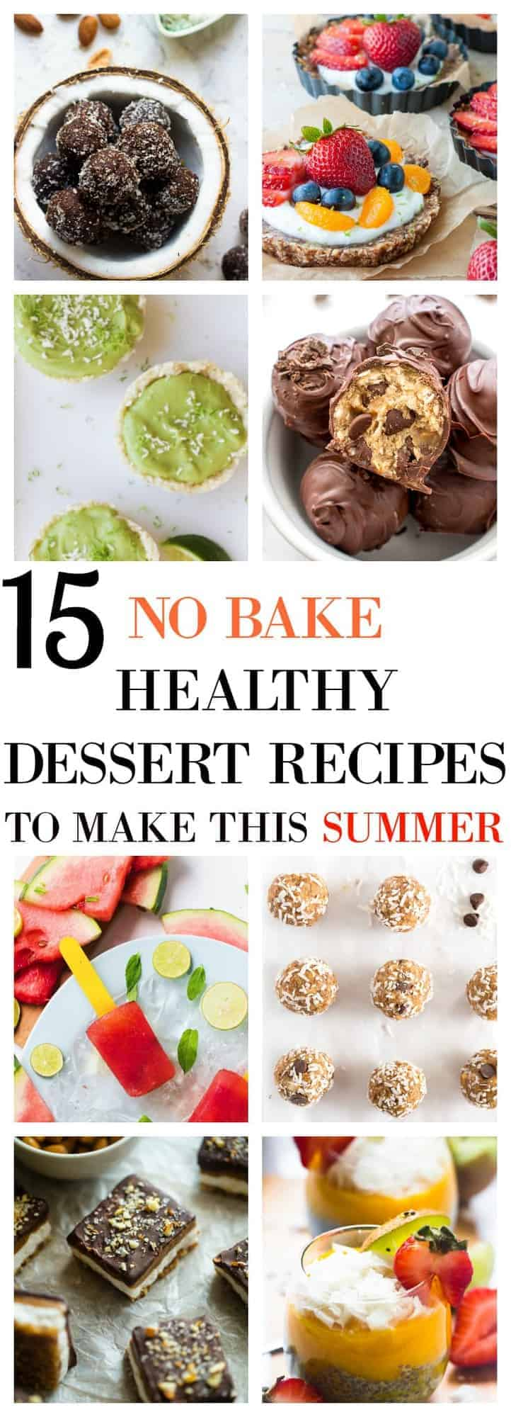 These 15 Healthy No Bake Dessert Recipes with help you cool off and enjoy summer completely with no guilt! Lots of quick and easy vegan and gluten free options!