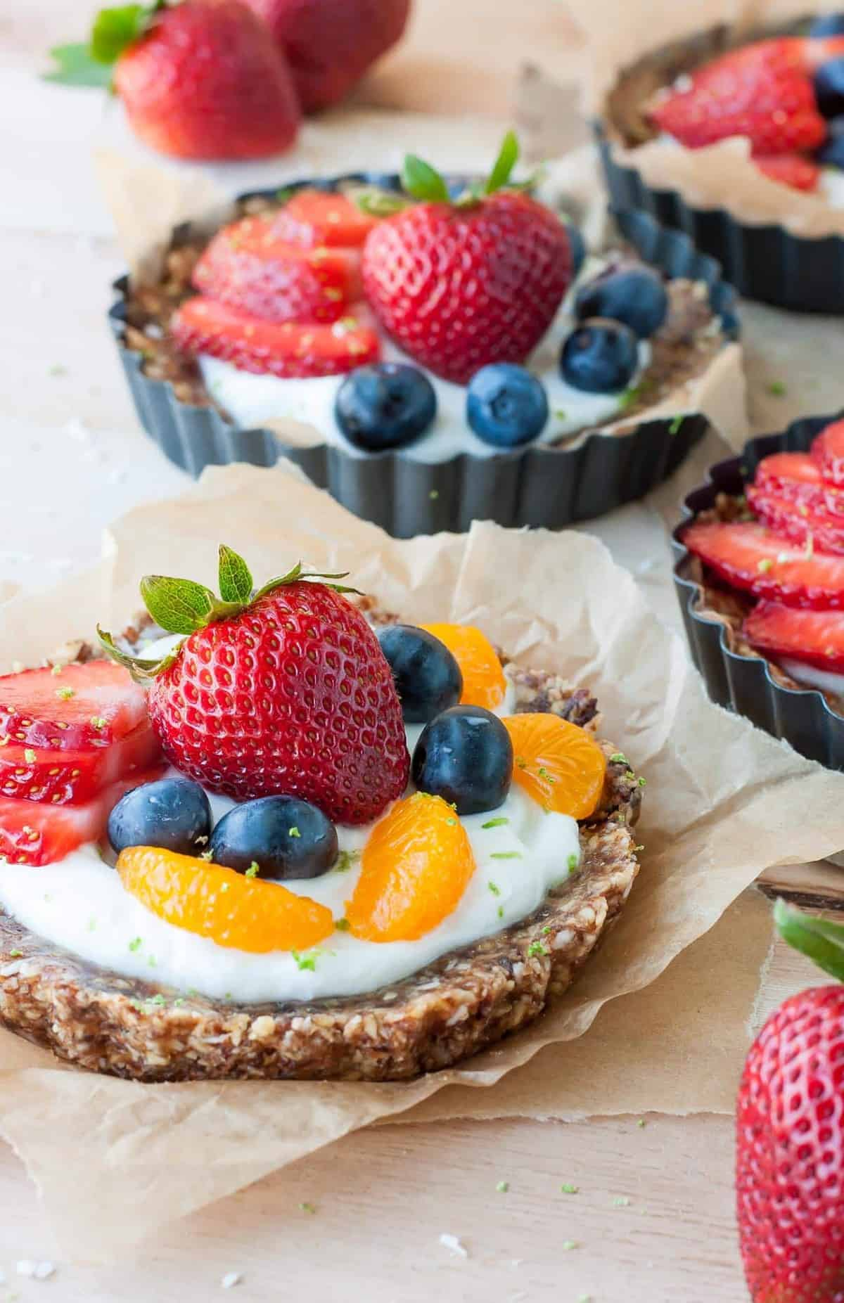 Easy No Bake Coconut Lime Fruit Yogurt Tarts