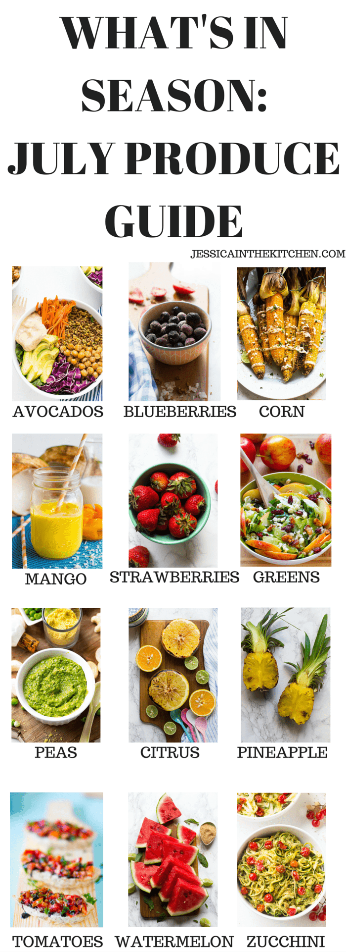 What's in Season: July Produce Guide. Here's a list of what you should cook this July based on what produce is in season for fresh, delicious and healthy recipes!