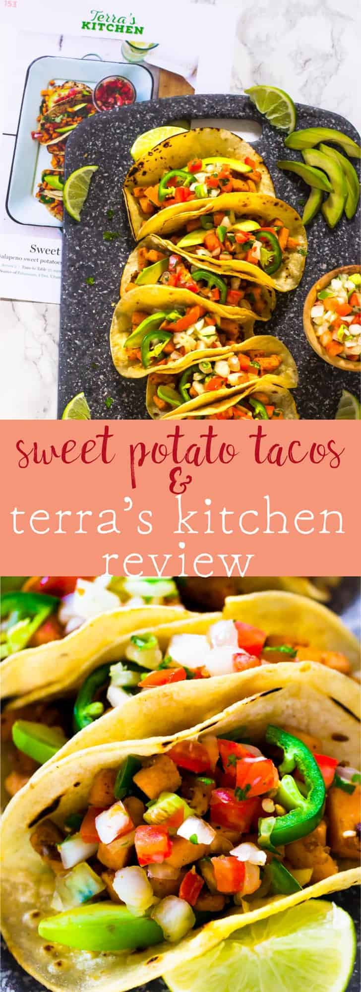 These Vegan Sweet Potato Tacos make a quick and delicious Mexican weeknight dinner. They're done in just 25 minutes from prep to table thanks to @tkmeals outstanding meal delivery service! via https://jessicainthekitchen.com #TerrasKitchen #TKWay