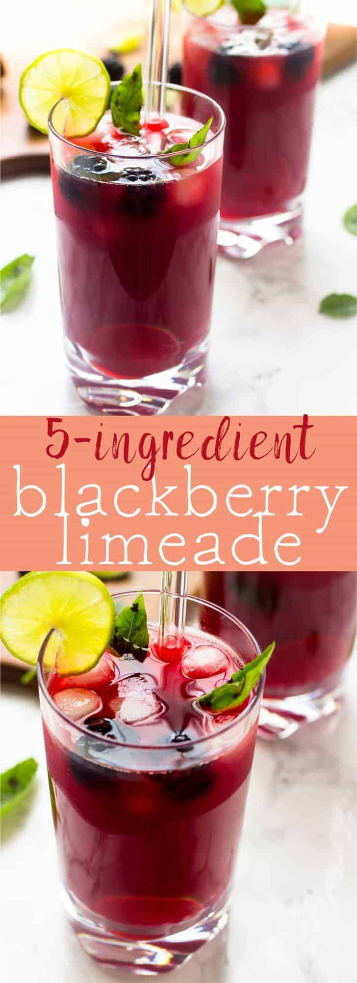 Pour a glass of this cool and refreshing Blackberry Limeade made with just 5 ingredients in just 20 minutes for a great summer drink! via https://jessicainthekitchen.com