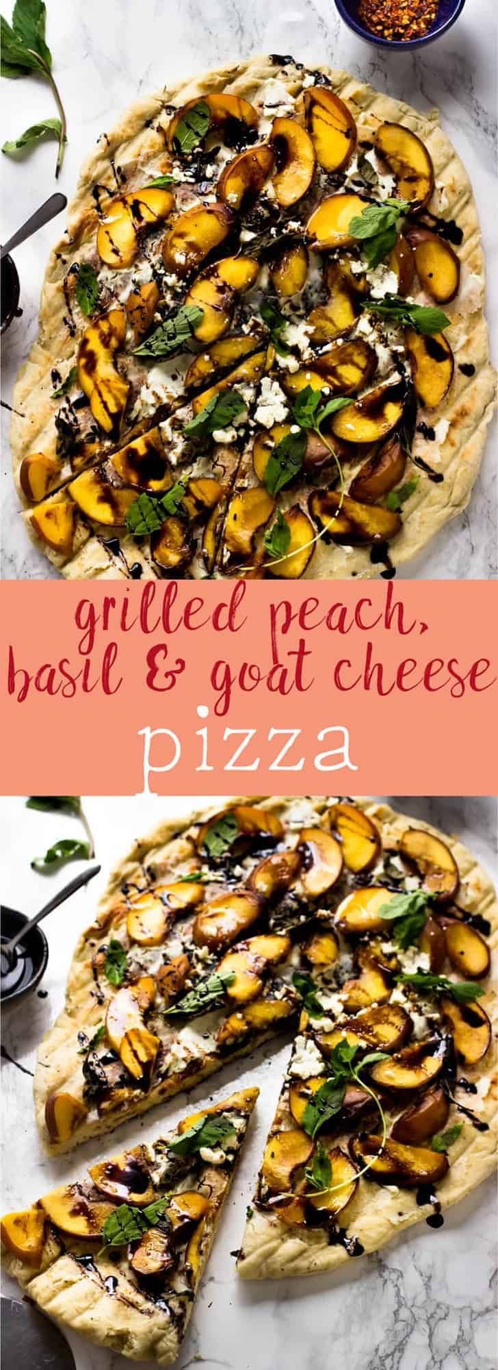 This Grilled Peach, Basil and Goat Cheese Pizza is topped with soft grilled peaches, creamy goat cheese and a delicious tangy balsamic drizzle. It's the perfect grilled summer pizza! via https://jessicainthekitchen.com