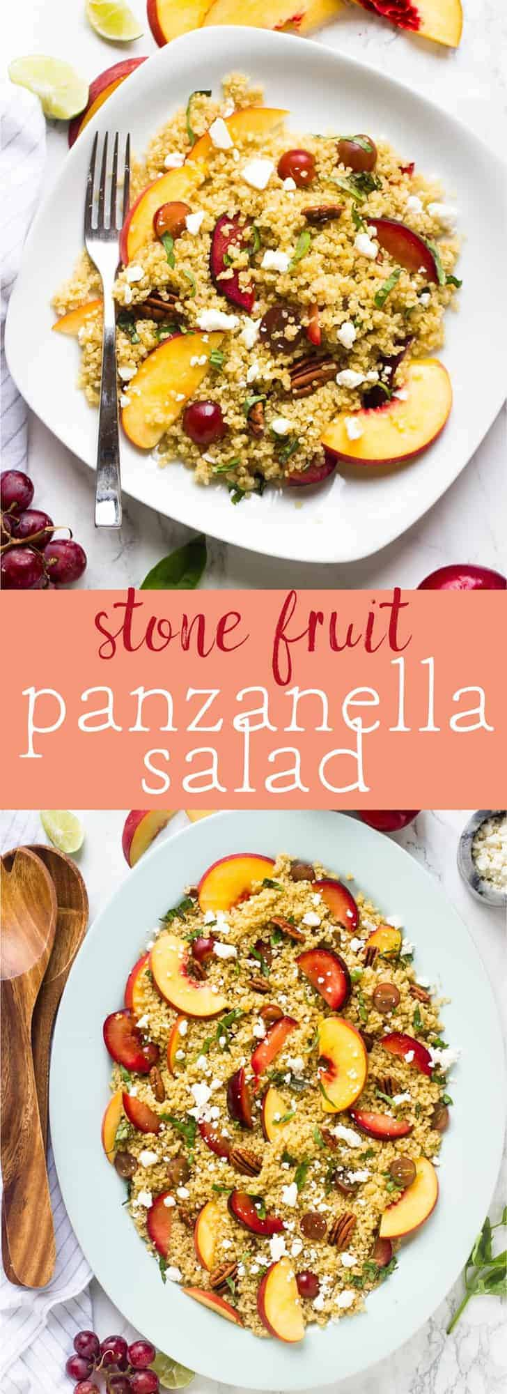 This Quinoa Stone Fruit Salad is a beautiful summer salad loaded with peaches and plums and drizzled with a maple lime dressing that comes together in just 20 minutes! via https://jessicainthekitchen.com