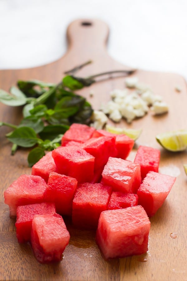 This Watermelon Feta Salad is fresh, juicy and drizzled with a delicious balsamic reduction. It's made in just 15 minutes! via https://jessicainthekitchen.com