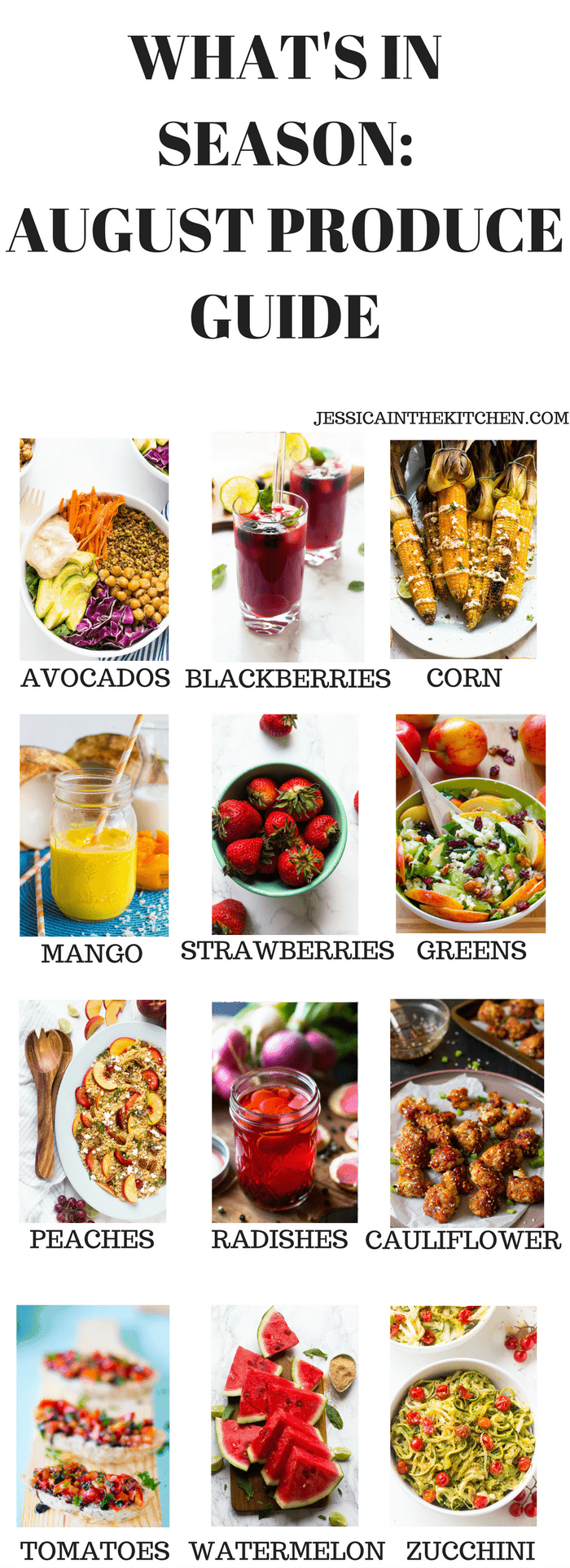 What's in Season: August Produce Guide. Here's a list of what you should cook this August based on what produce is in season for fresh, delicious and healthy recipes!