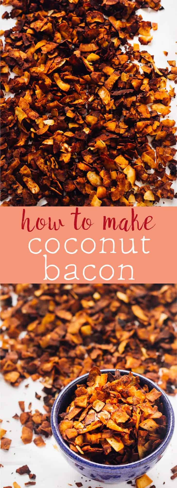 Learn how to make coconut bacon with just 4 ingredients in just 20 minutes! Great for topping your favourite dishes or even snacking on! via https://jessicainthekitchen.com