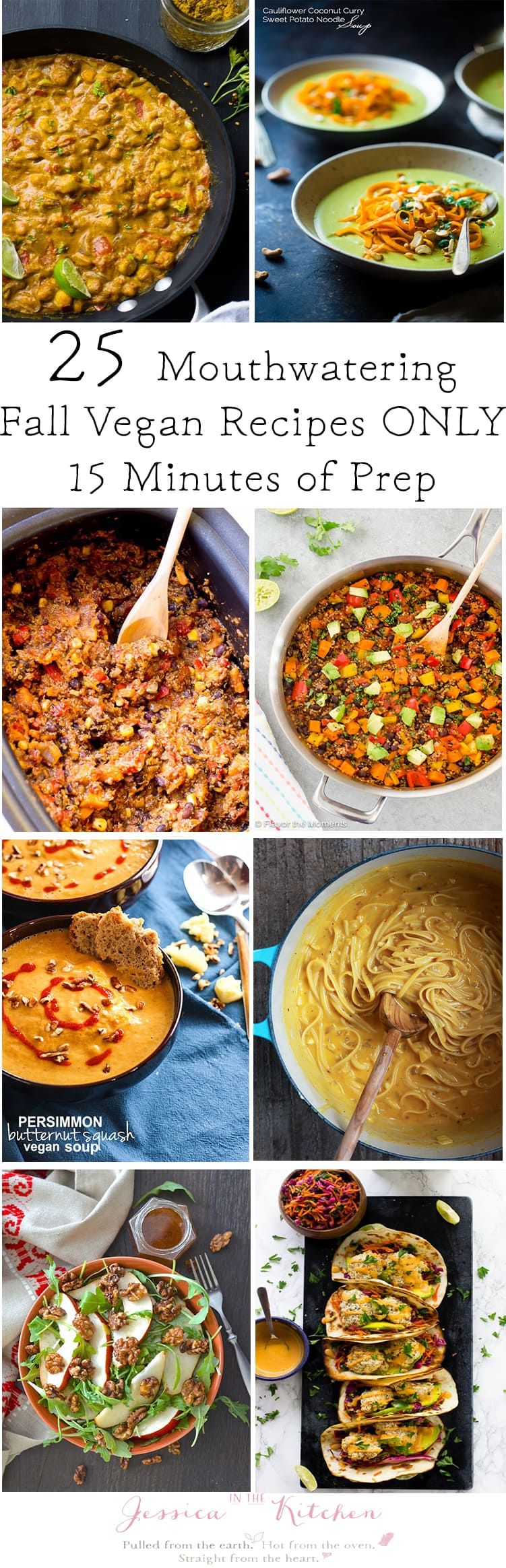 A montage of fall vegan dishes with title graphics.