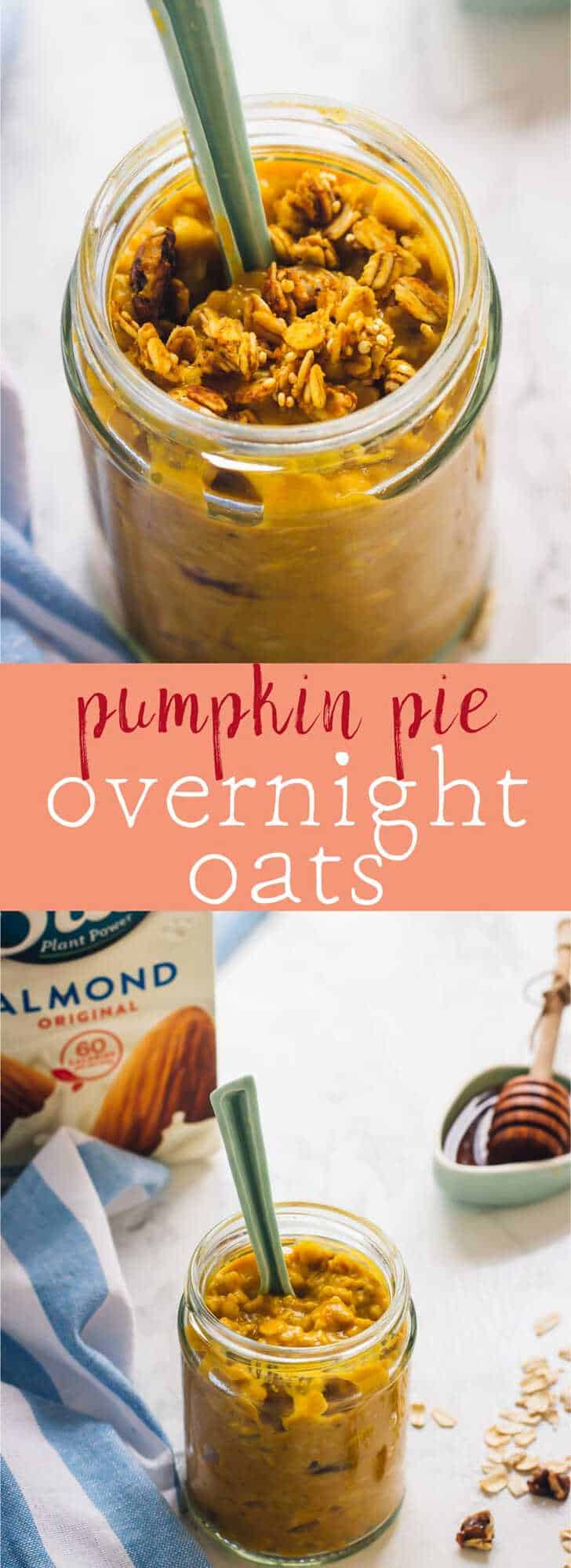 These Pumpkin Pie Overnight Oats are your easiest breakfast ever! They require only 5 minutes of prep and are delicious, filling and so nutritious! via https://jessicainthekitchen.com