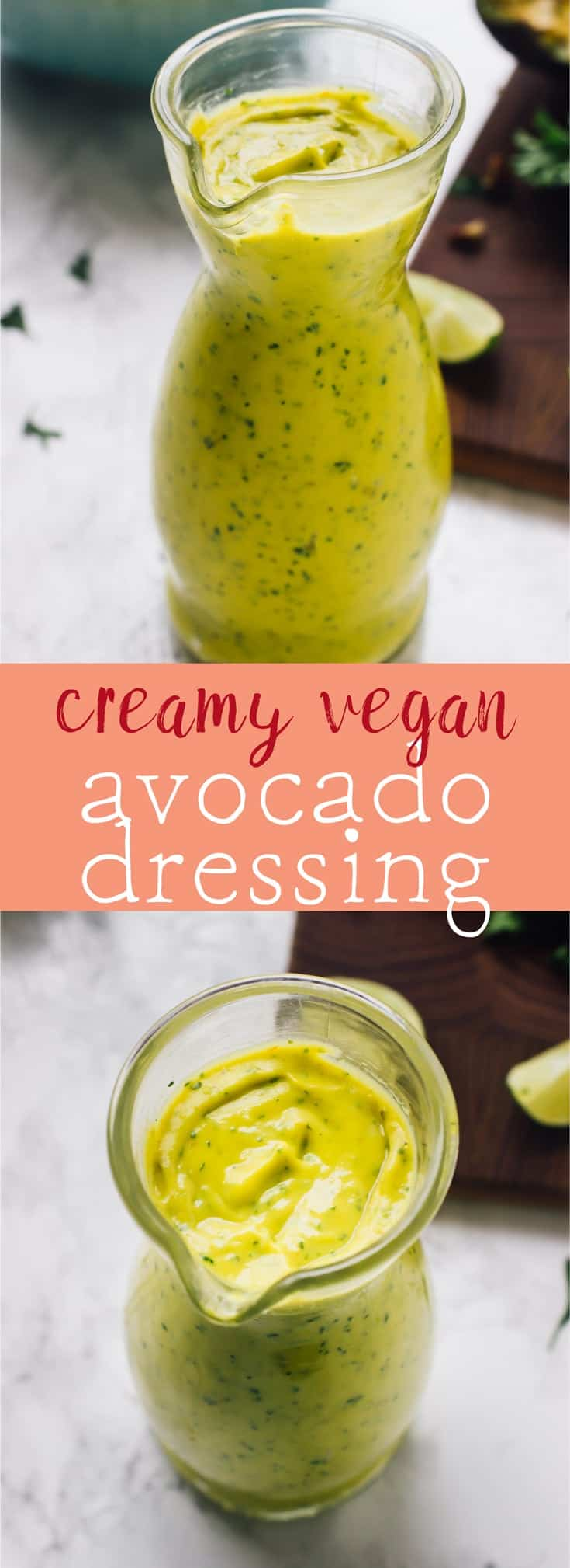 This Creamy Vegan Avocado Dressing takes just 5 minutes to come together is healthy so creamy and delicious and great of any salad! via https://jessicainthekitchen.com