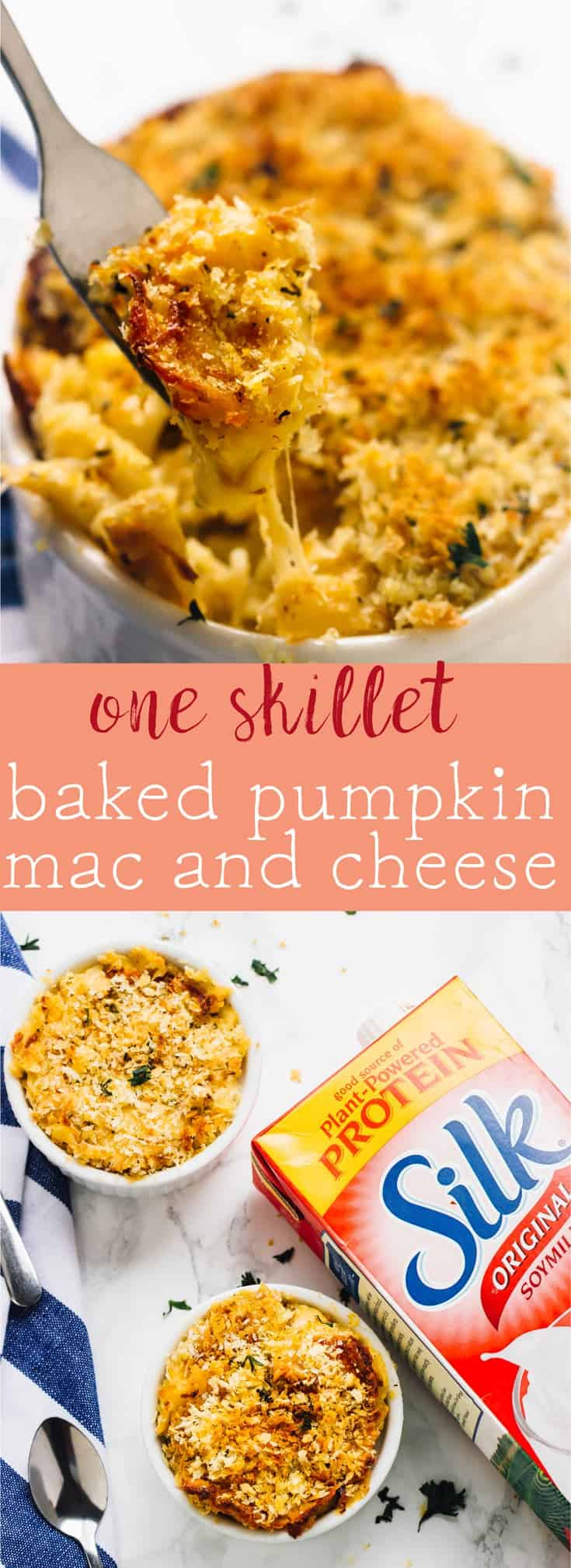 This One Skillet Baked Pumpkin Mac and Cheese is loaded with lots of fall favour, tons of nutrients and tastes so decadent! It's the perfect side dish. via https://jessicainthekitchen.com