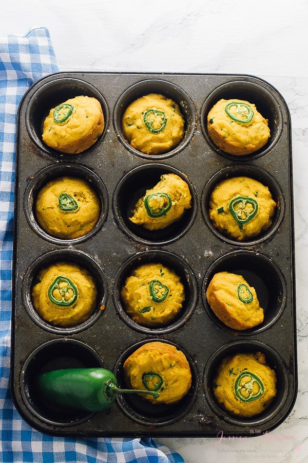 These Gluten Free Cornbread Muffins are moist and tender and made with jalapeños! They have a delicious spicy kick, are vegan and are made with healthier ingredients!