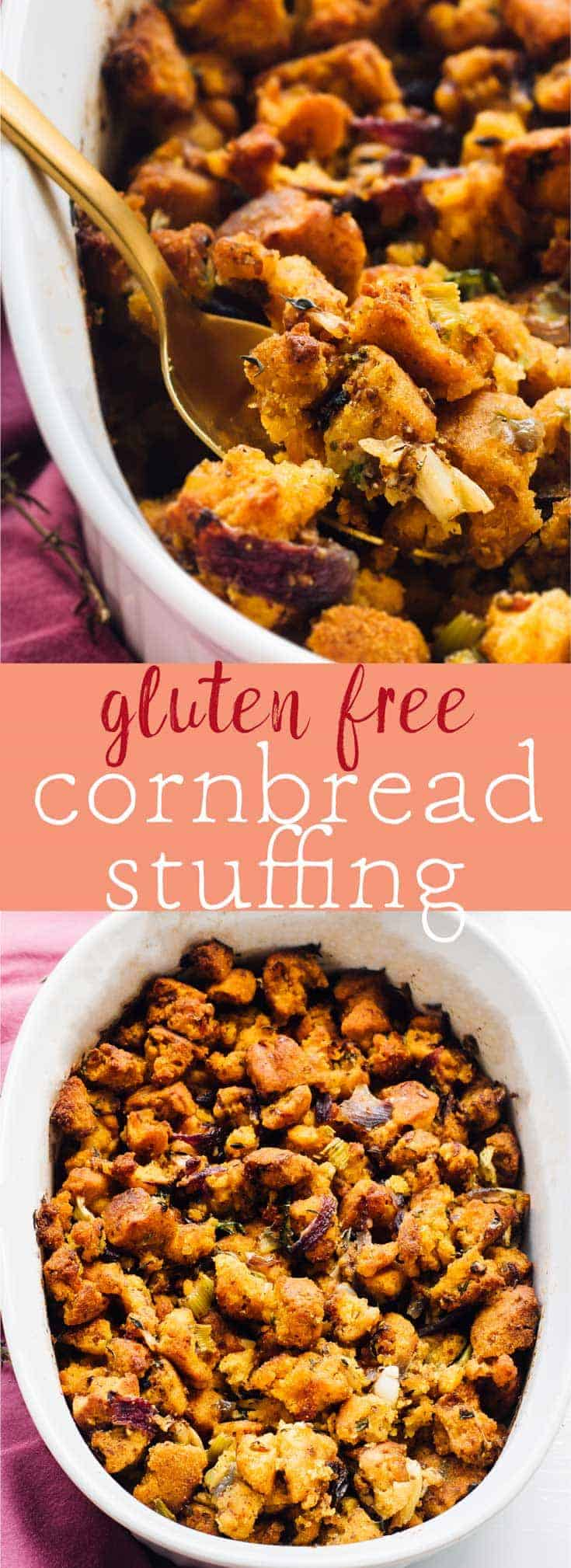 This Gluten Free Cornbread Stuffing will be a star at your Thanksgiving dinner! It's a healthier side dish that is deliciously simple, loaded with lots of flavour and is vegan! via https://jessicainthekitchen.com