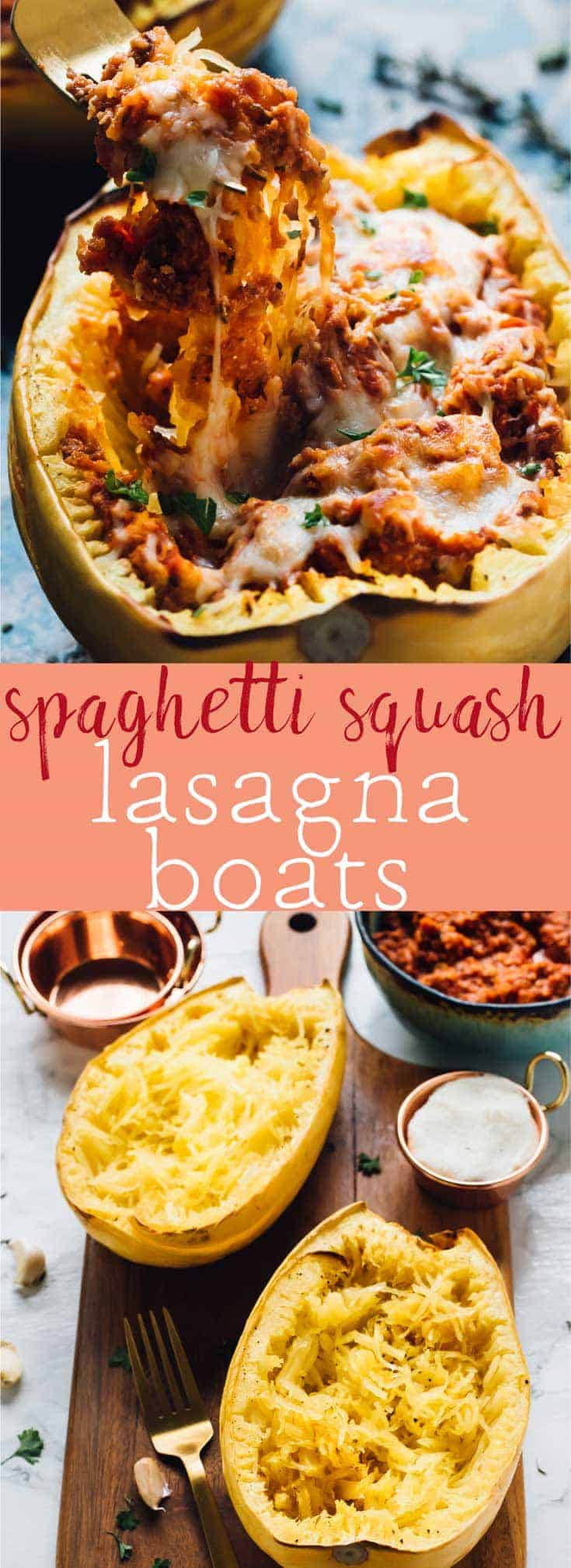 Spaghetti Squash Lasagna Boats are an easy, low carb and absolutely delicious vegetarian main dish! Loaded with protein and meal plan friendly! via https://jessicainthekitchen.com