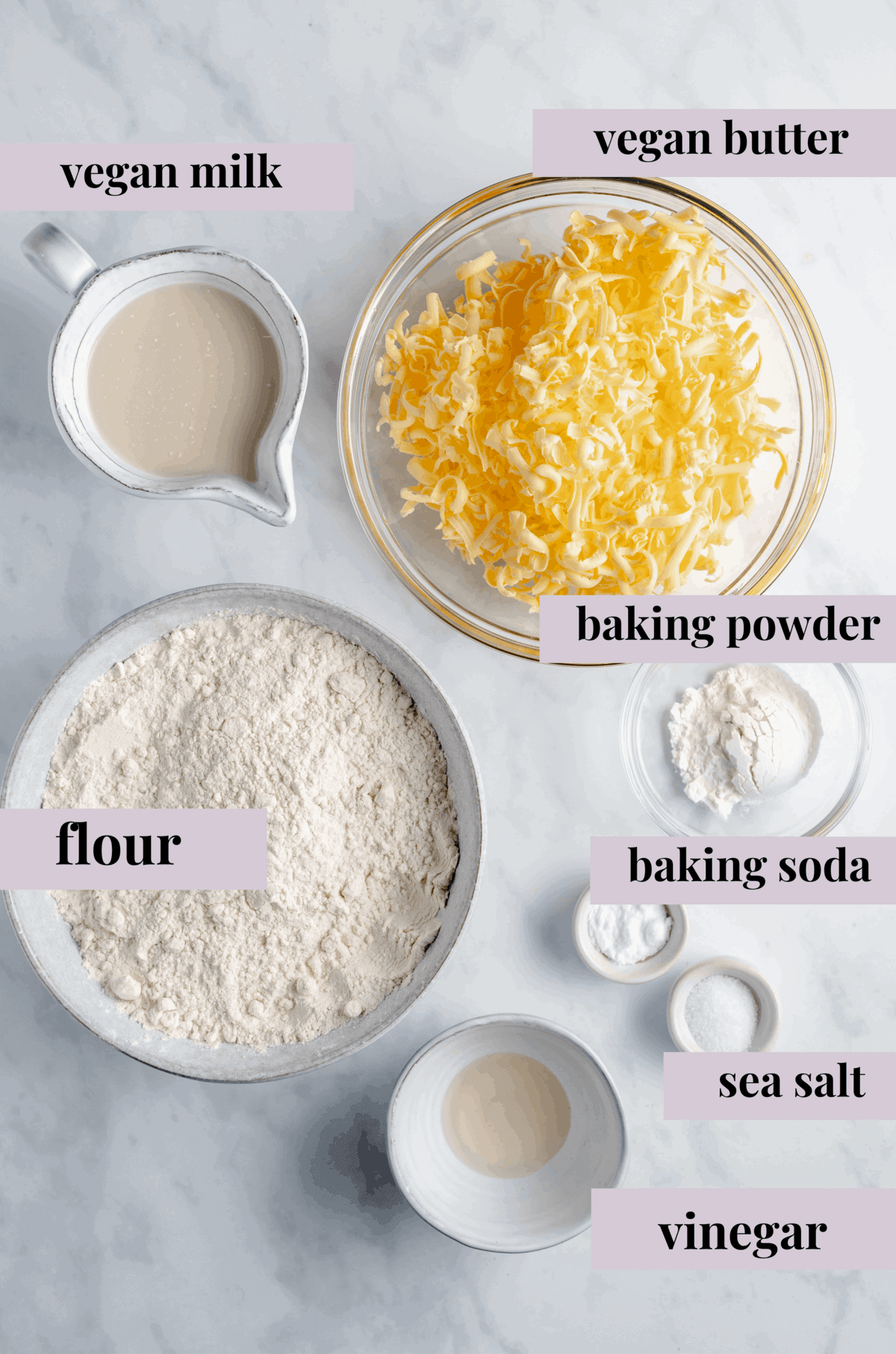 A Lineup of the Ingredients Needed to Make Vegan Biscuits