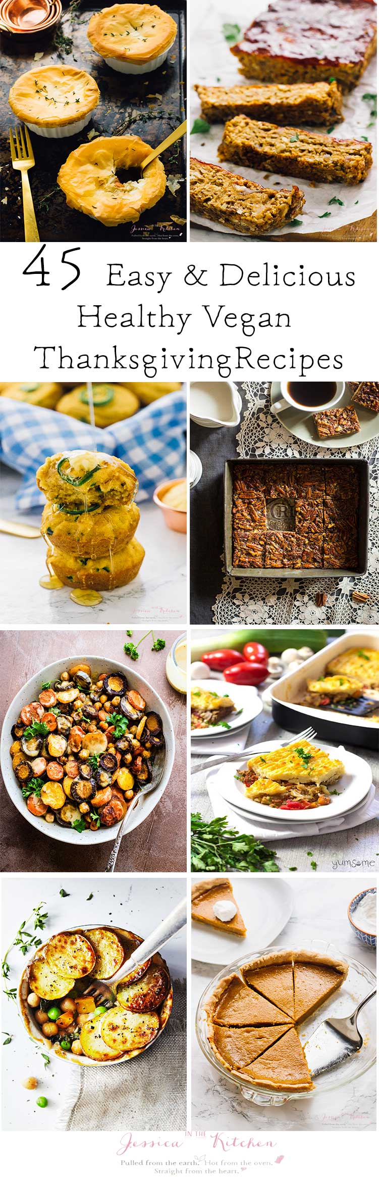 A collage of healthy vegan dishes with text.