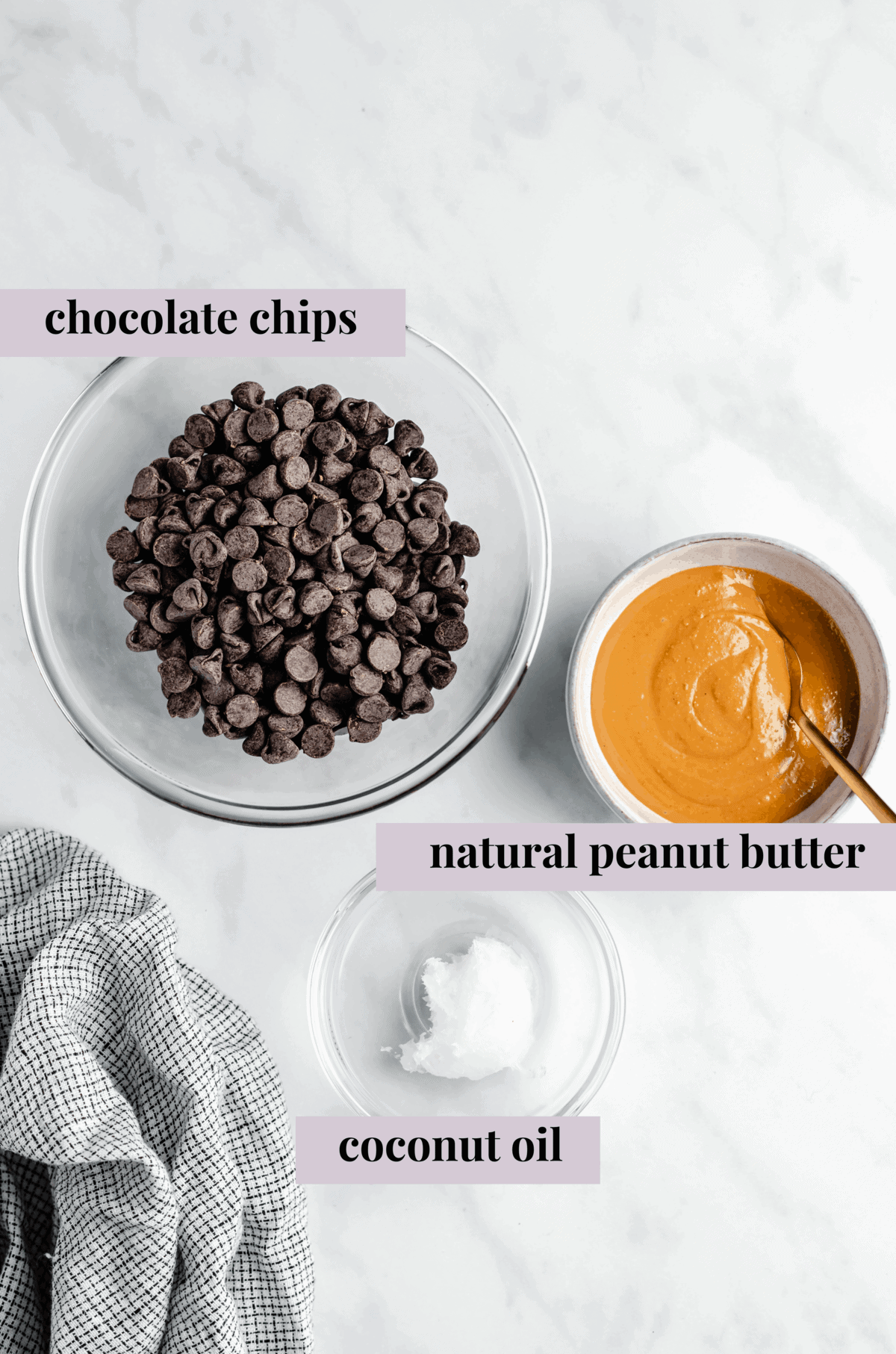 Overhead shot of vegan peanut butter cup ingredients in glass bowls