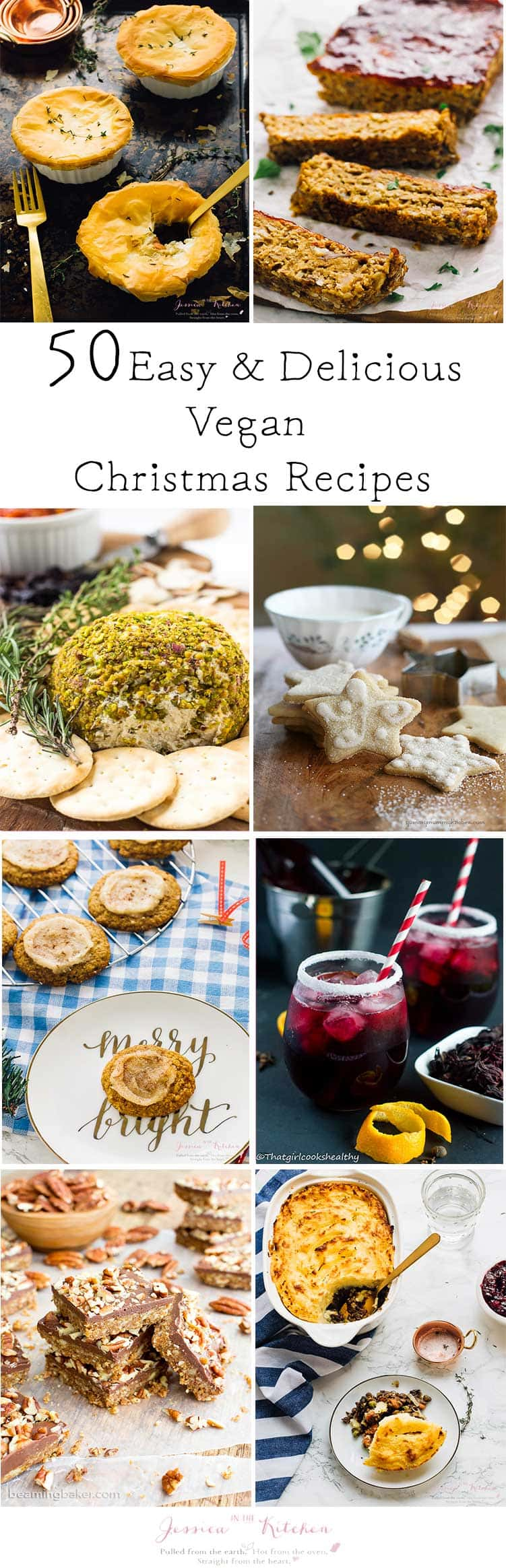 A collage of christmas dishes with text over it.