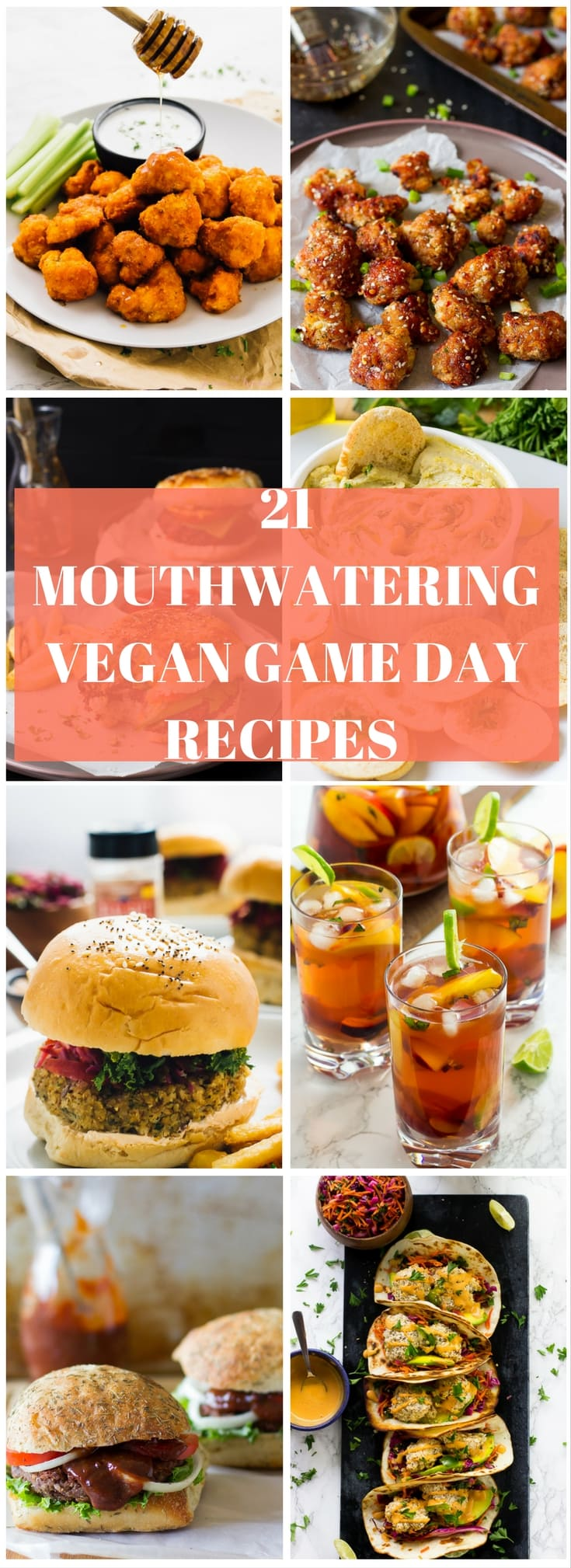 A montage of game day dishes with text over it.