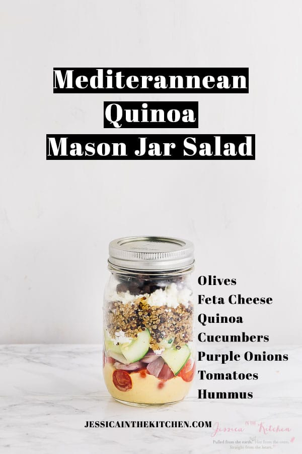 Here are 5 Mason Jar Salads To Meal Prep for a Week of Lunches you can prep in just one hour for your entire week ahead! Plus tips for making the perfect mason jar salad. via https://jessicainthekitchen.com