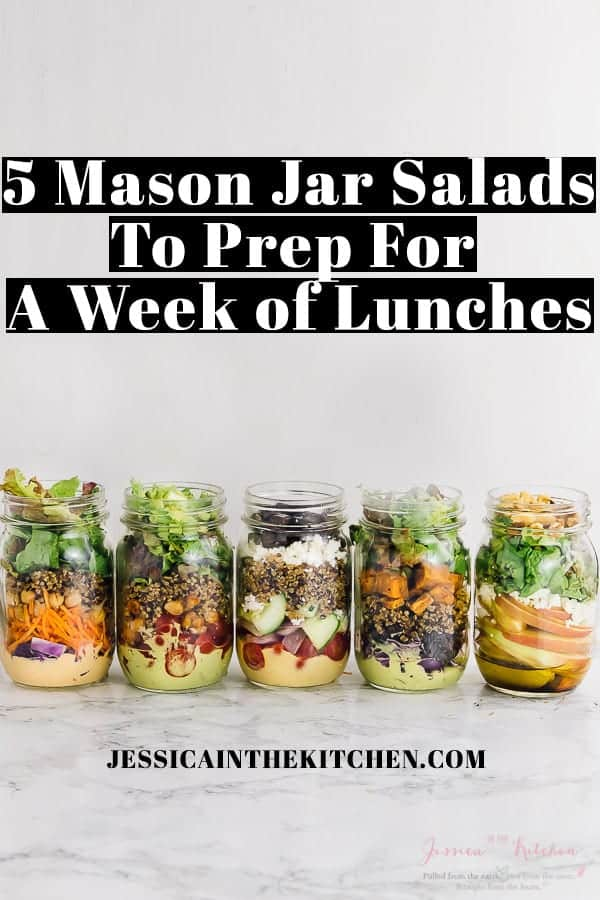 Mason salad jars on a table with text over them.