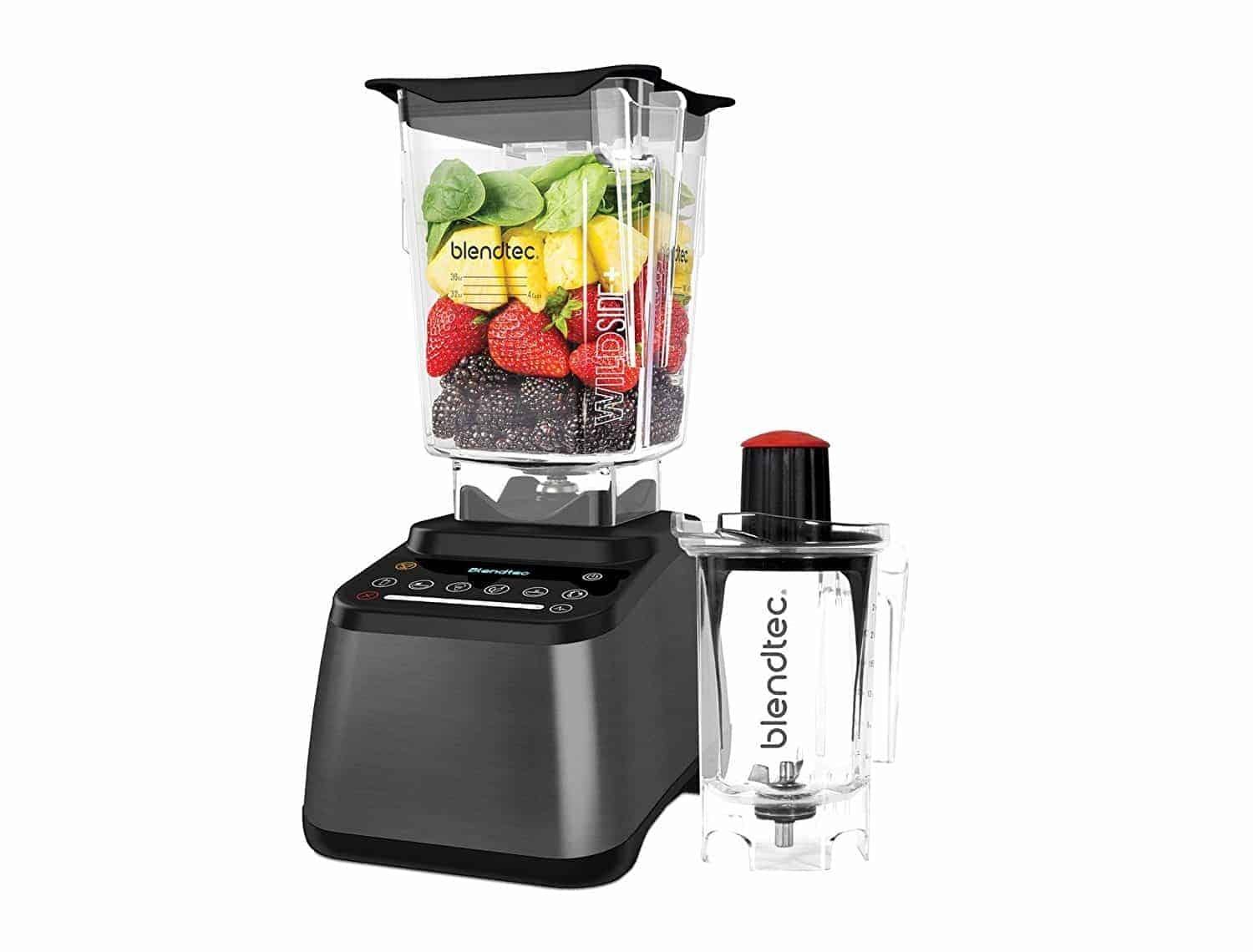 A grey blender on a white background.