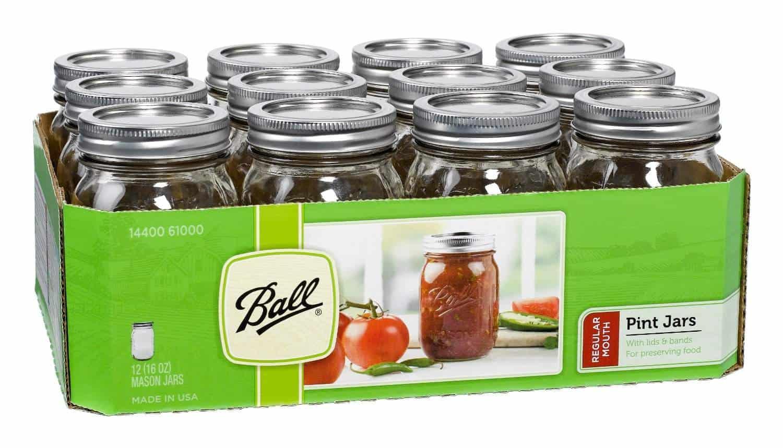 A box of mason jars on a white background.