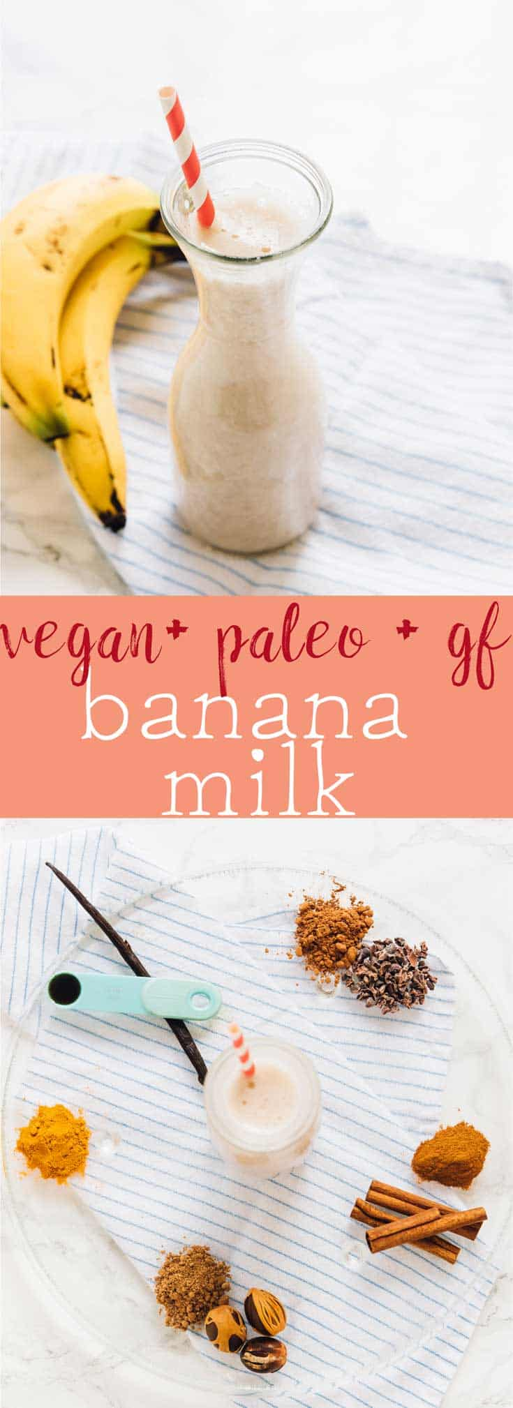 Learn how to make this nut free, vegan, paleo banana milk in less than 5 minutes! PERFECT for allergies, loaded with nutrition and tastes delicious!