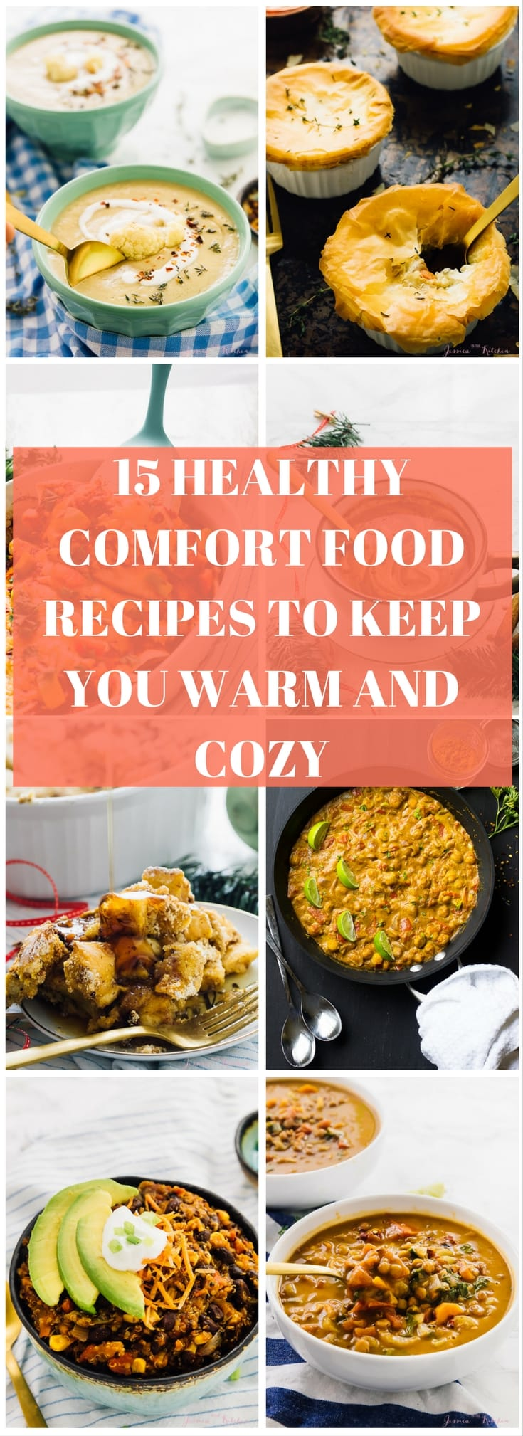 A montage of comfort food dishes with text over it.