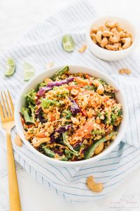 This Cashew Thai Quinoa Salad is loaded with Thai inspired ingredients and dressed with a divine peanut ginger sauce!! via https://jessicainthekitchen.com