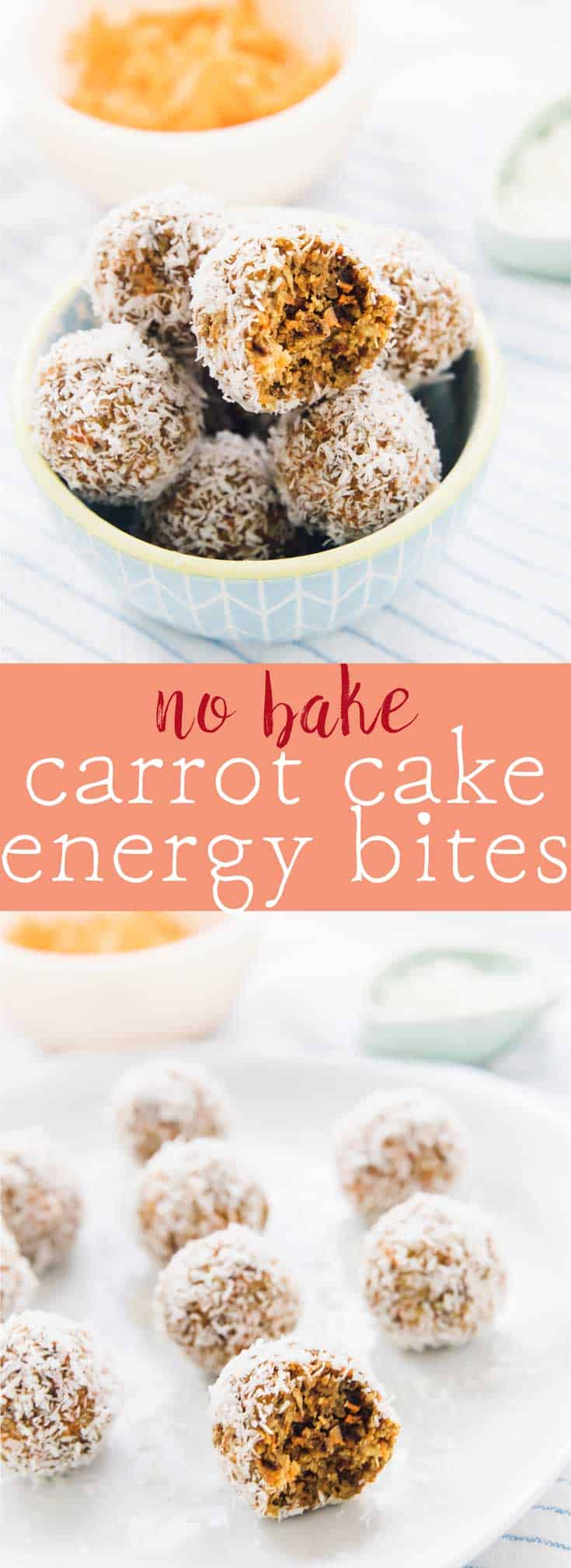 These No Bake Carrot Cake Energy Bites are made with only 5 ingredients, vegan and gluten-free and are a perfect quick healthy breakfast or snack! via https://jessicainthekitchen.com