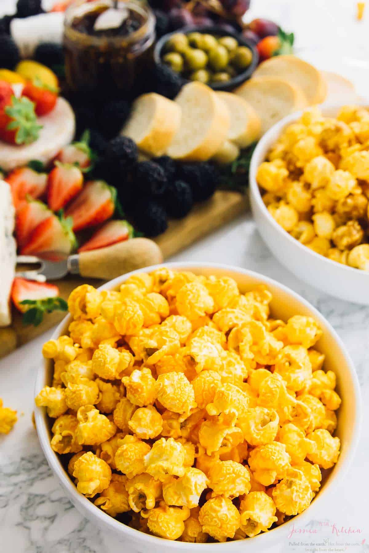 How To Throw an EASY Girls Night In with the three best elements: The Best Popcorn, Cheeseboard, & Wine!