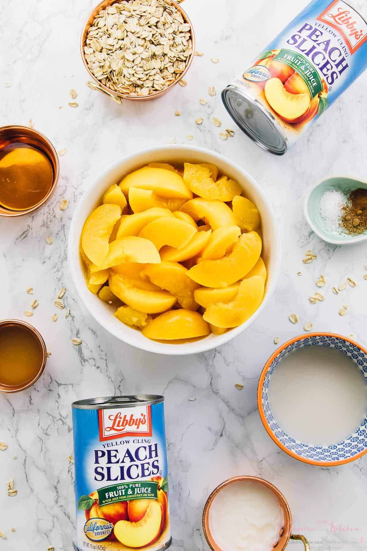 Top down shot of ingredients for peach cobbler.