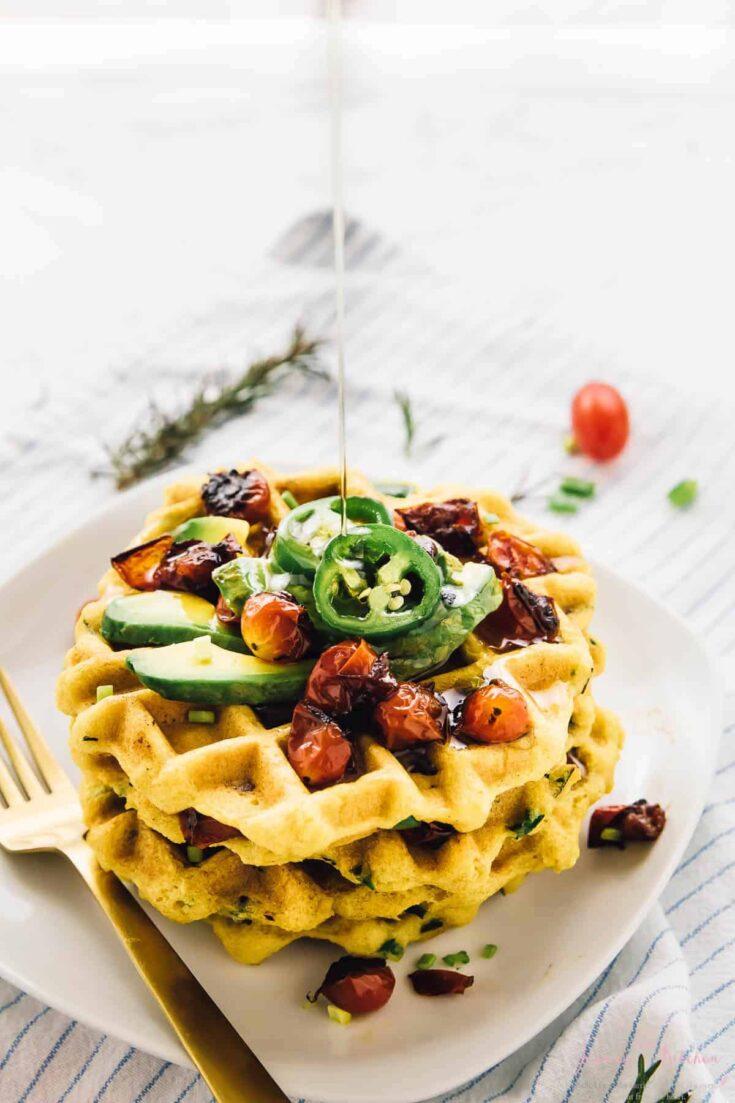 Jalapeño Cornbread Waffles with Roasted Garlic & Rosemary (Vegan + Gluten Free)