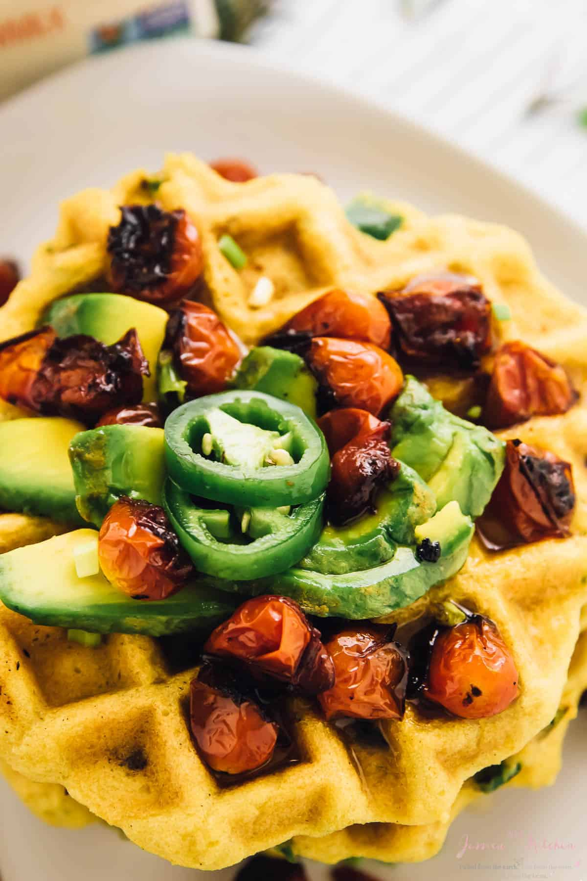 These Jalapeño Cornbread Waffles are the ultimate savoury waffles! They're made with roasted garlic, rosemary, and are perfect for brunch! via https://jessicainthekitchen.com