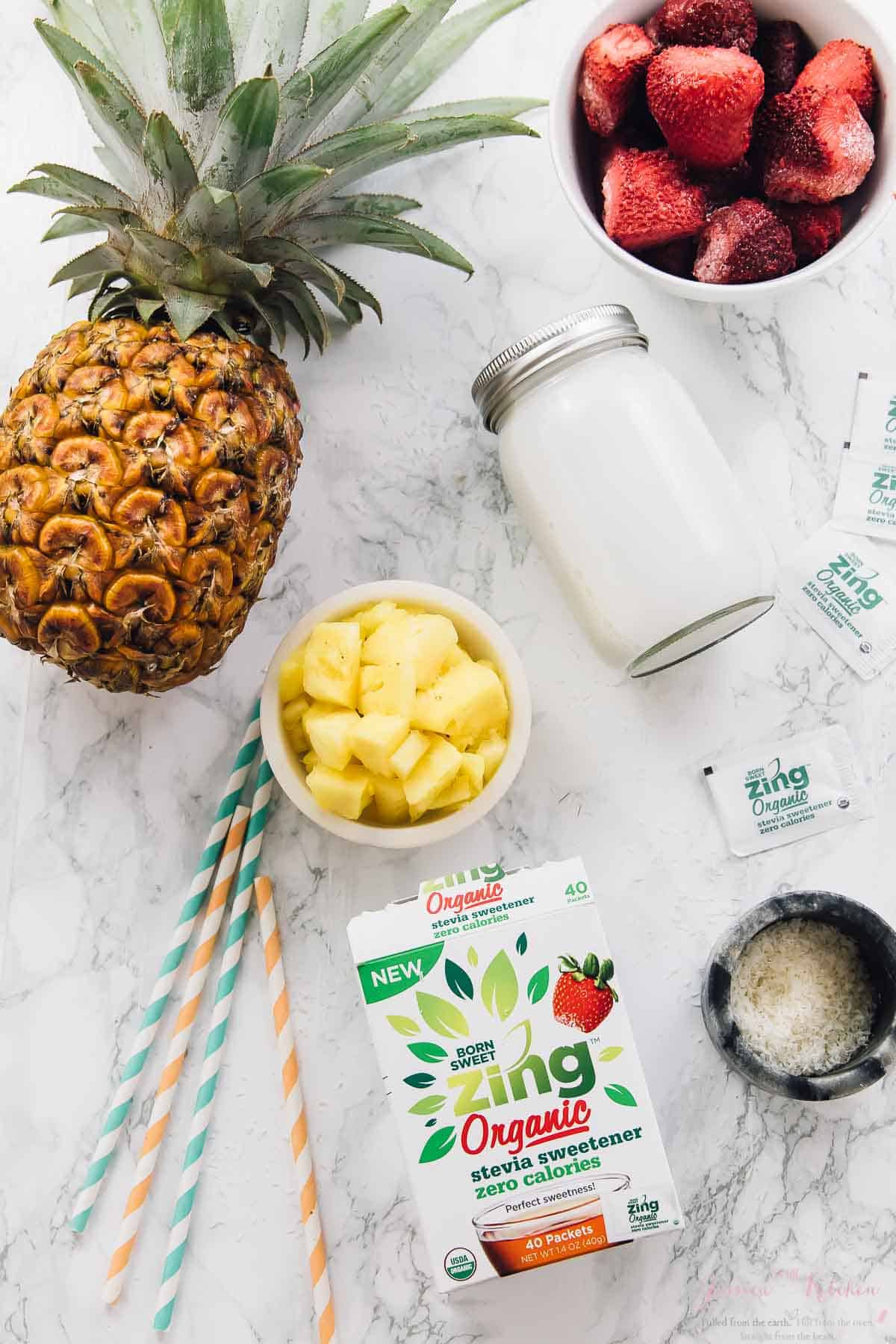 This Strawberry Pineapple Coconut Pina Colada Smoothie takes just five minutes to whip up, is deliciously tropical and vegan! via https://jessicainthekitchen.com