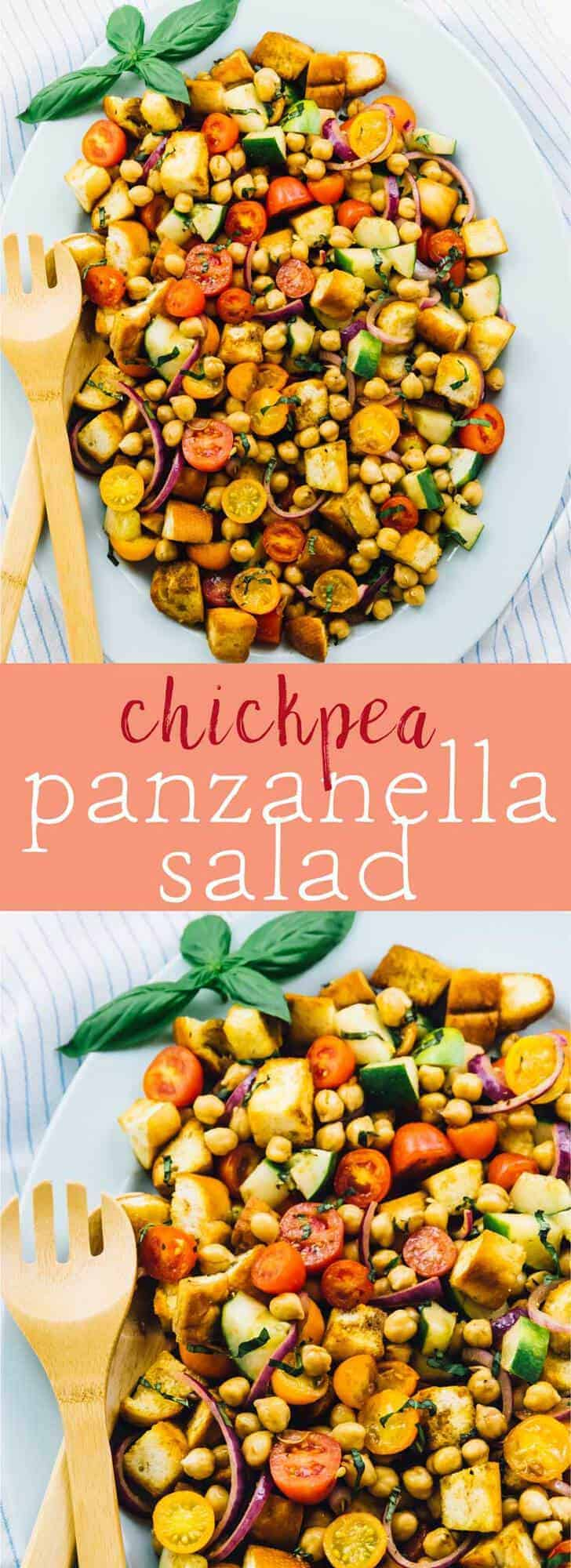 This Chickpea Panzanella Salad is made with only 7 main ingredients and is SO addictive! It's perfect for any get togethers, parties or even a delicious lunch or dinner! via https://jessicainthekitchen.com