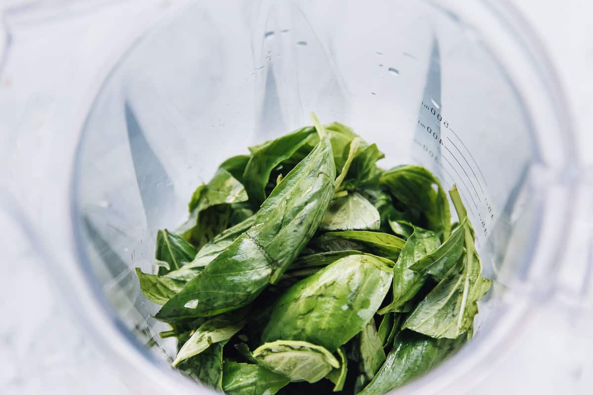 Basil leaves in a clear measuring jug.