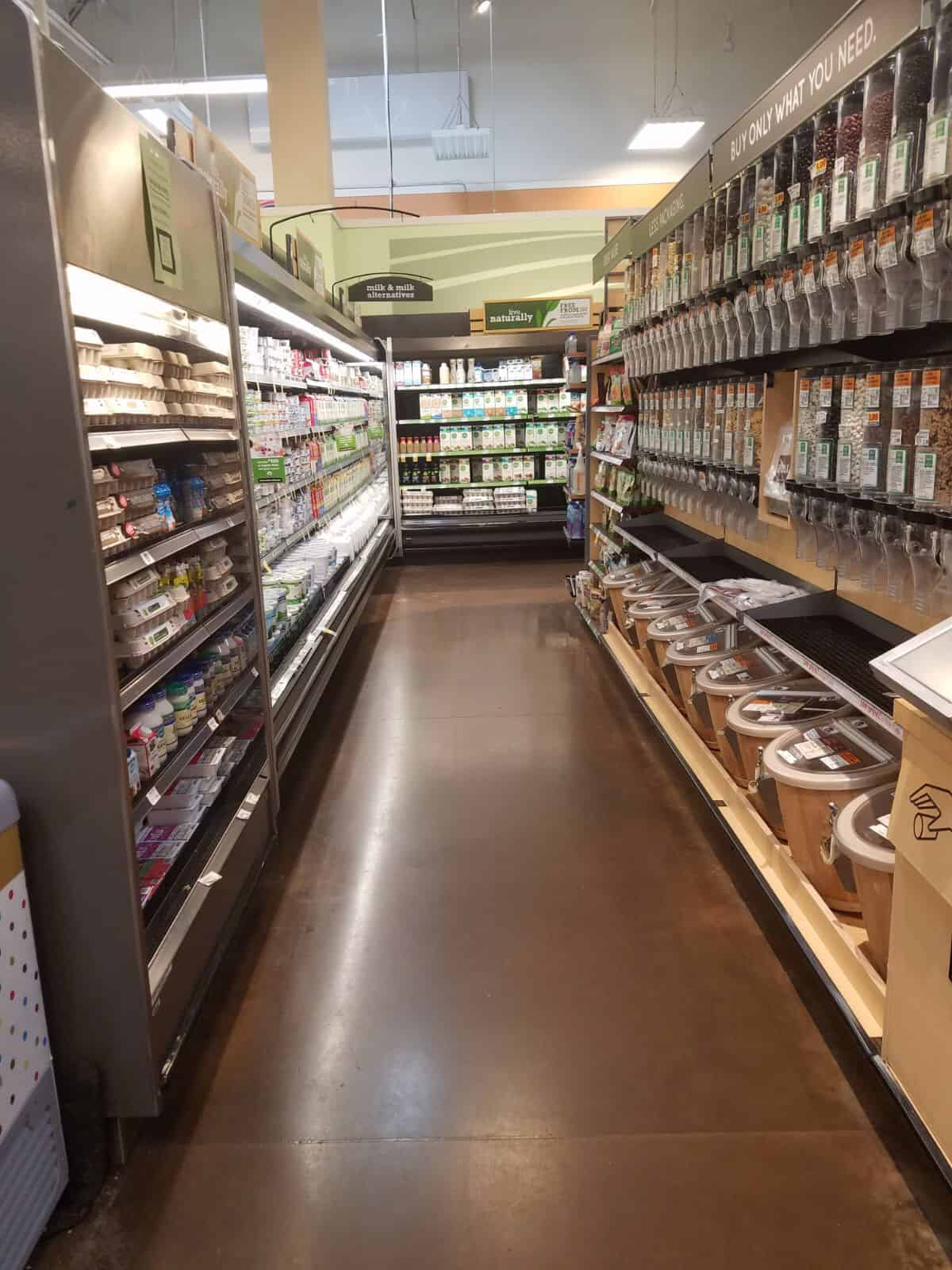 The dairy aisle in a super market.