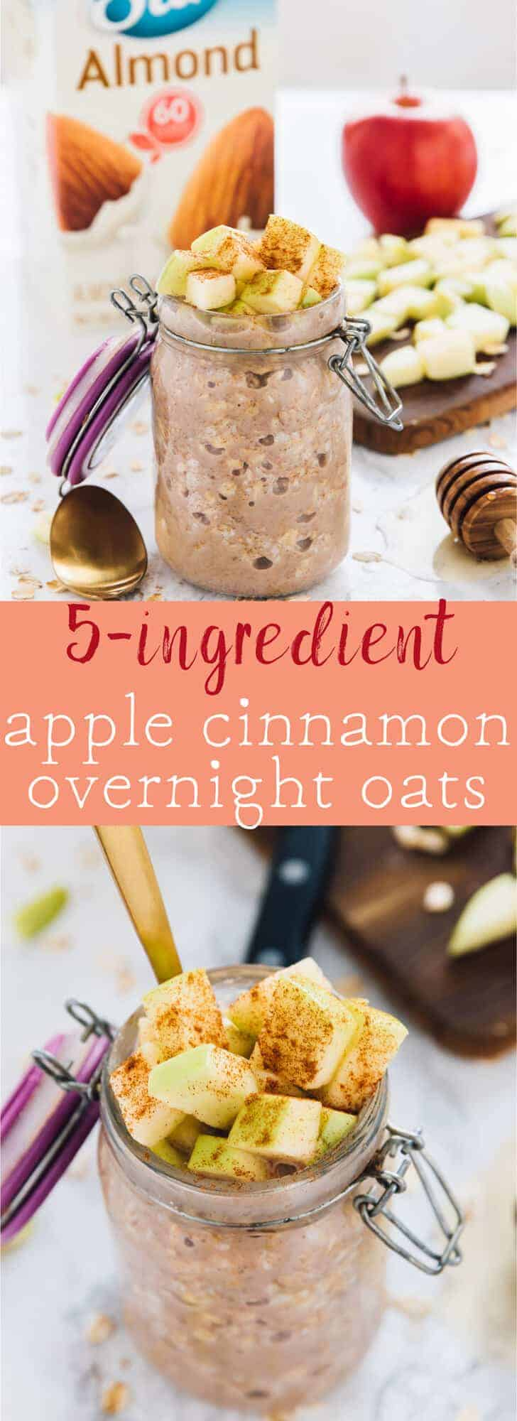 These 5-Ingredient Apple Cinnamon Overnight Oats are great for quick and busy mornings! They take 5 minutes of prep the night before and are so delicious! Vegan and GF! via https://jessicainthekitchen.com
