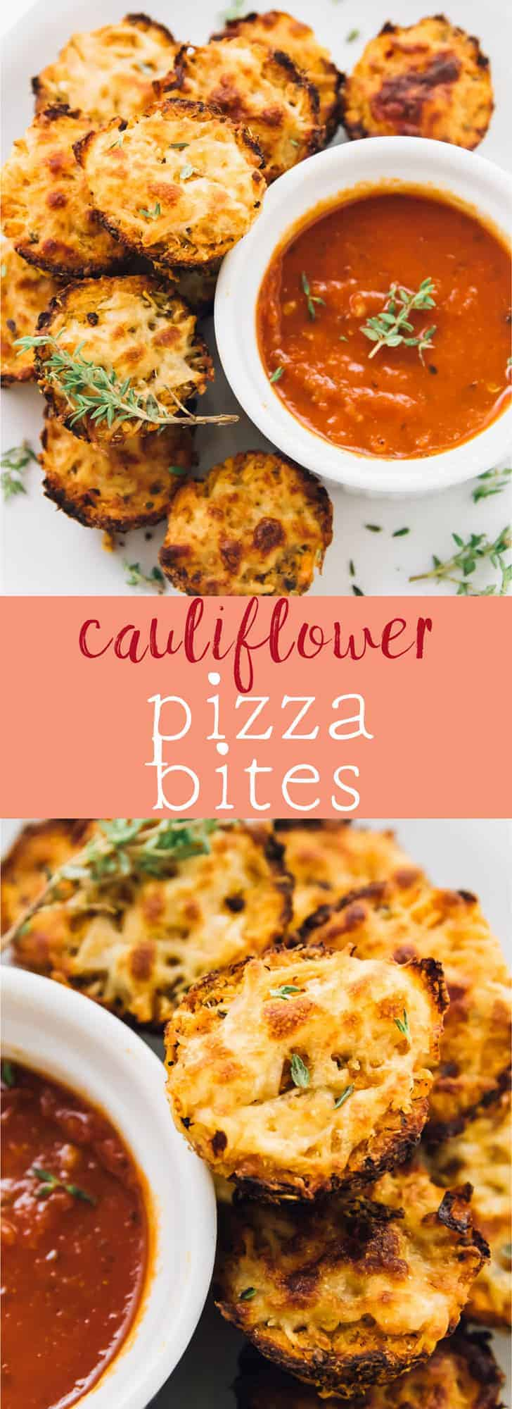 These Cauliflower Pizza Bites will satisfy your pizza cravings! Everyone from kids to college students love them, and they are low carb! via https://jessicainthekitchen.com