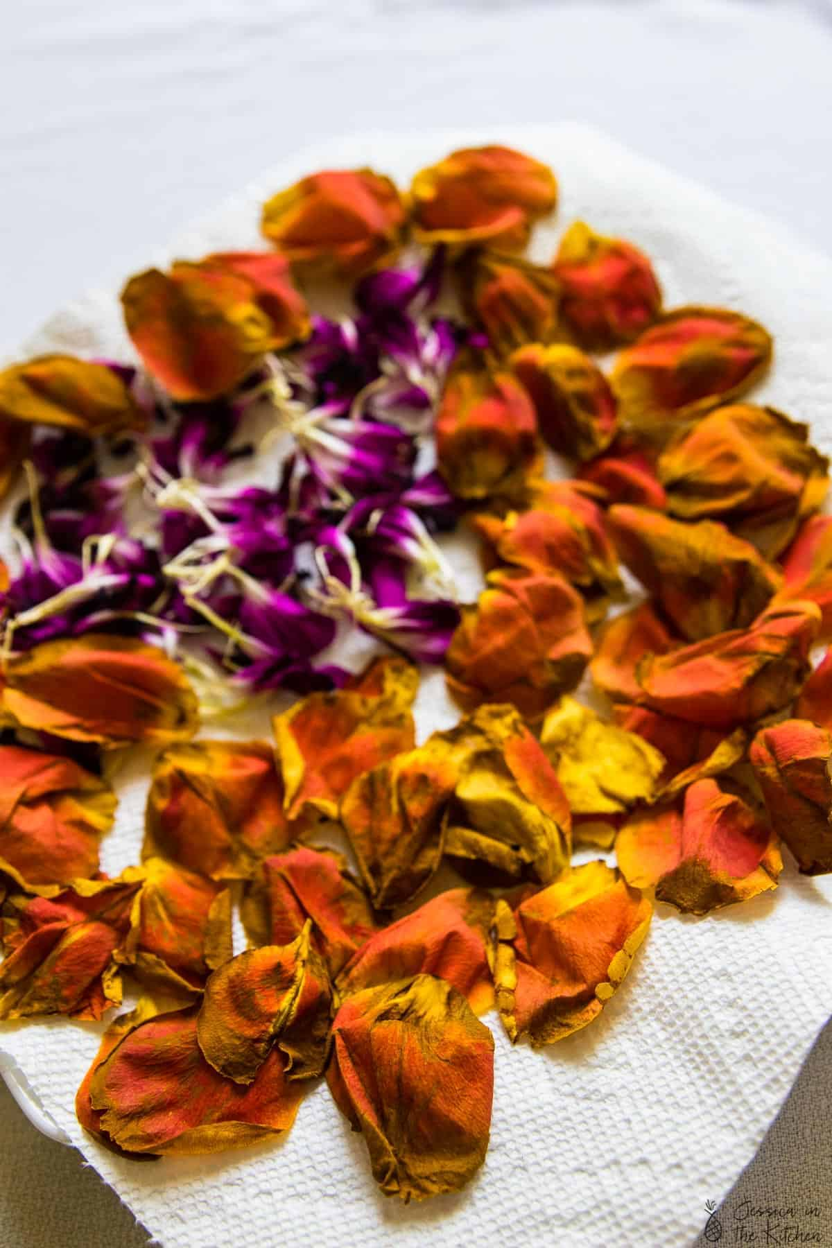Flour petals on a kitchen towel.